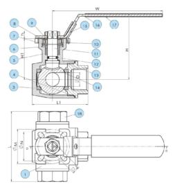 Чертеж шарового крана B501M