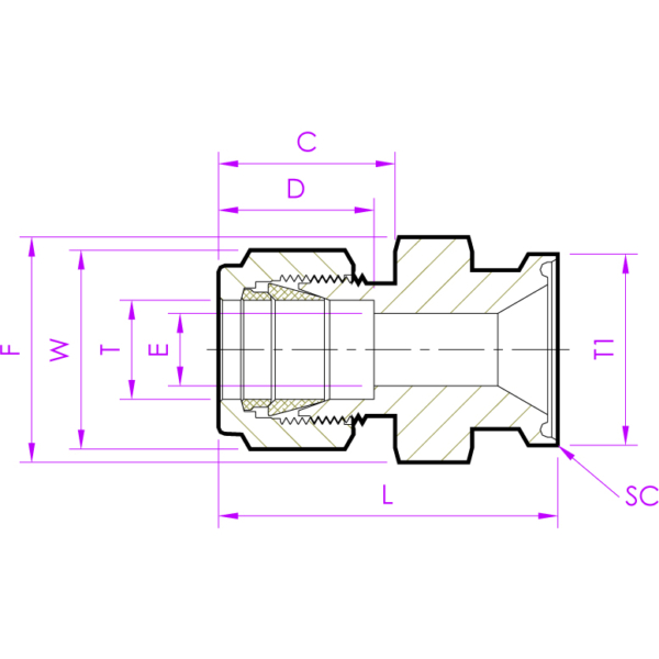 Санитарно – технический фланцевый фитинг SFD Эскиз