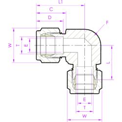 Соединитель угловой UED эскиз
