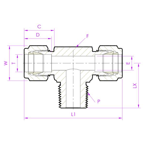 Эскиз тройник с резьбой по ответвлению MBTD