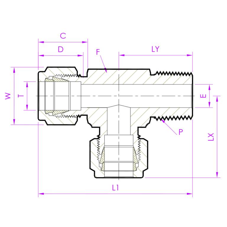 Эскиз тройник с резьбой по направлению MRTD