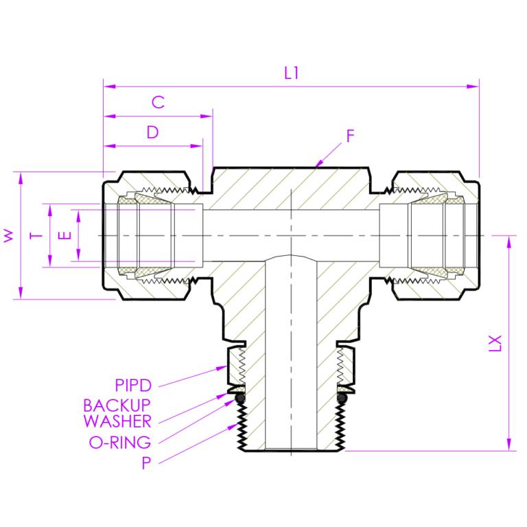 Эскиз тройник с резьбой по ответвлению позиционируемый PMBTD