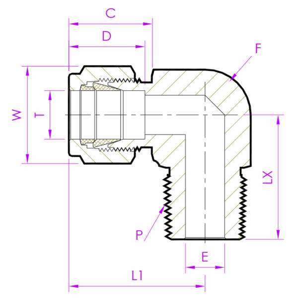 Эскиз штуцер угловой MED