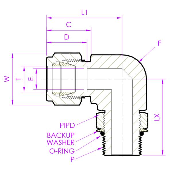 Эскиз штуцер угловой позиционируемый PMED