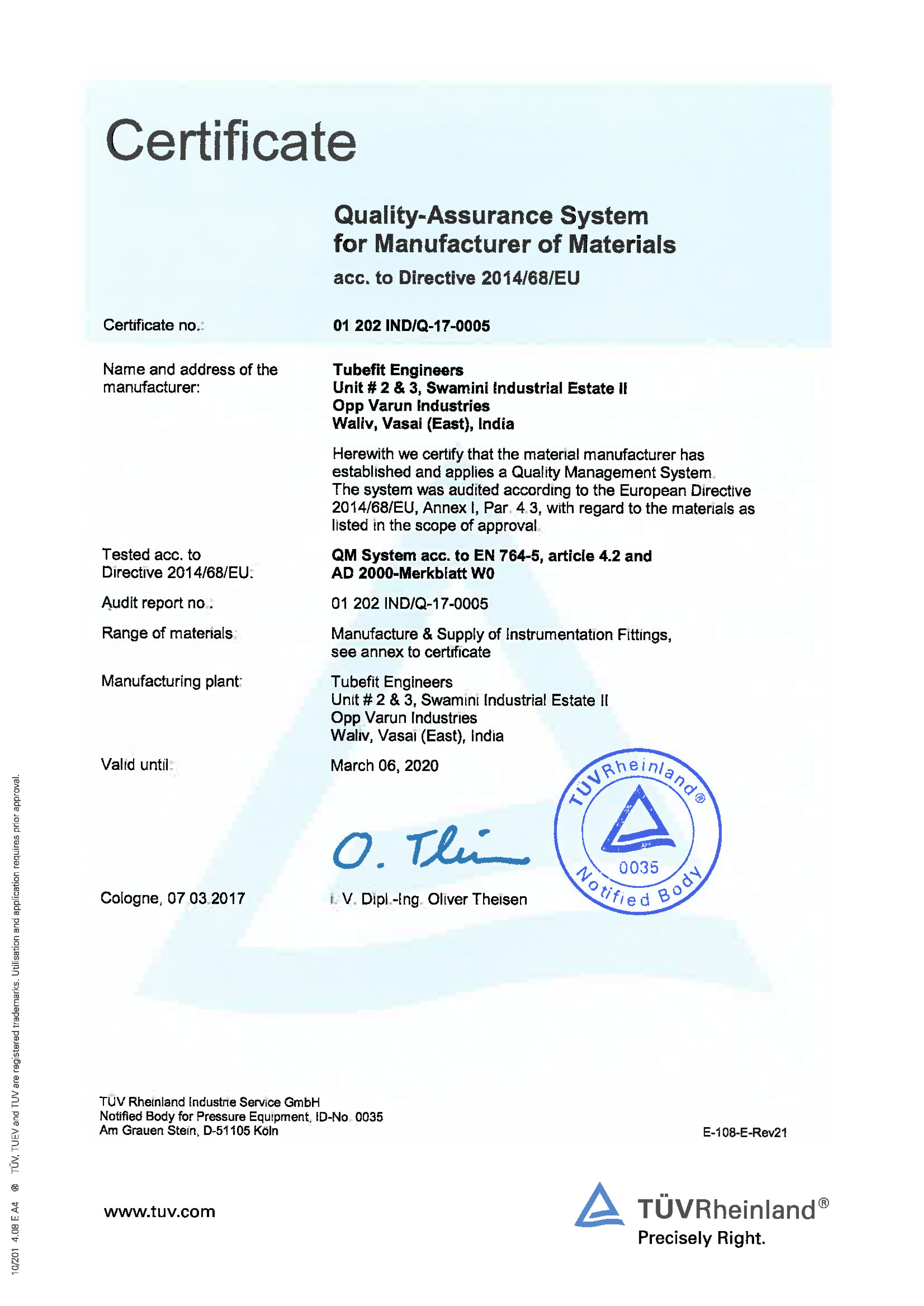 Quality-Assurance System for Manufacturer of Materials acc. to Directive 2014/68/EU