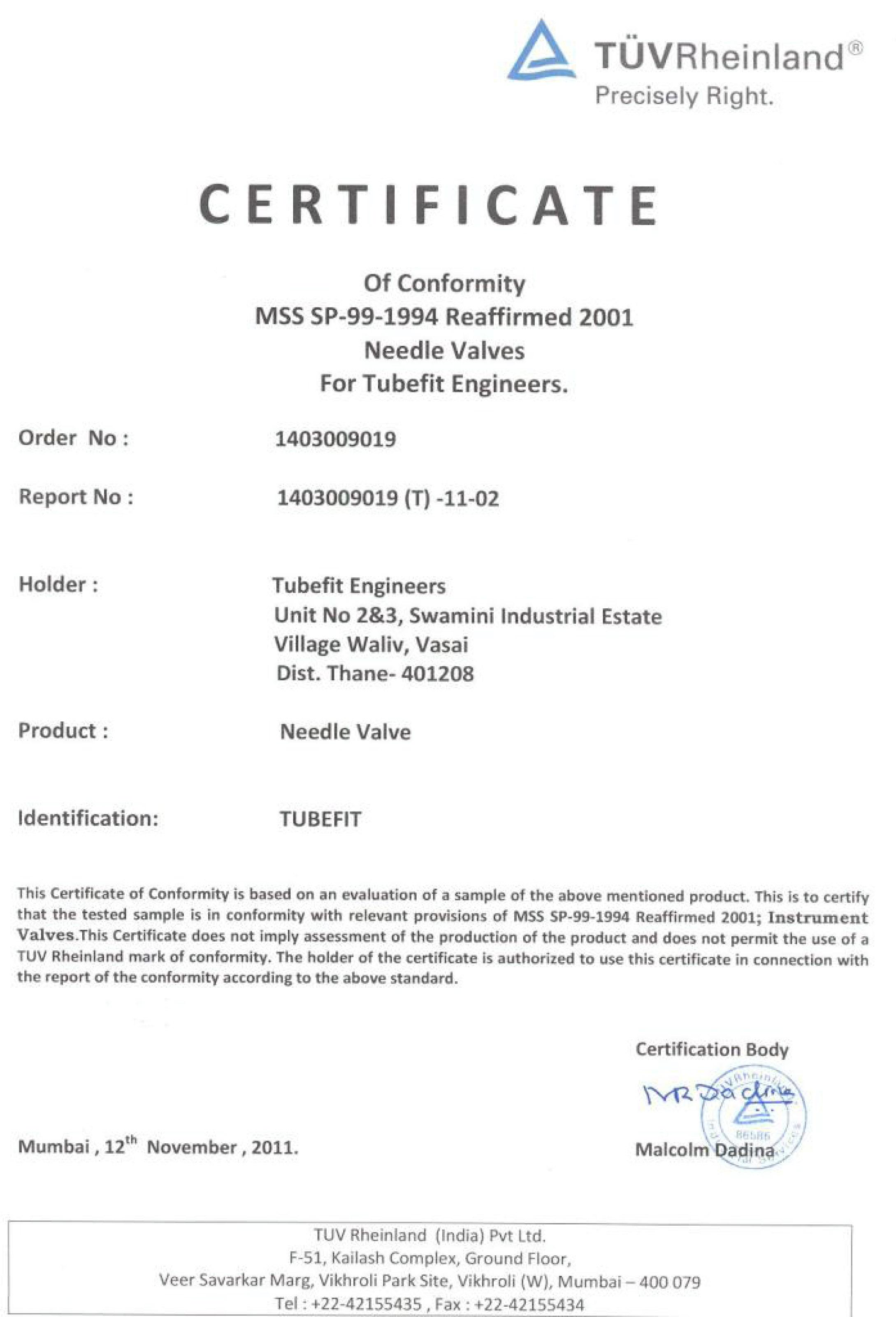 MSS SP-99-1994 Reaffirmed 2001 Needle Valves