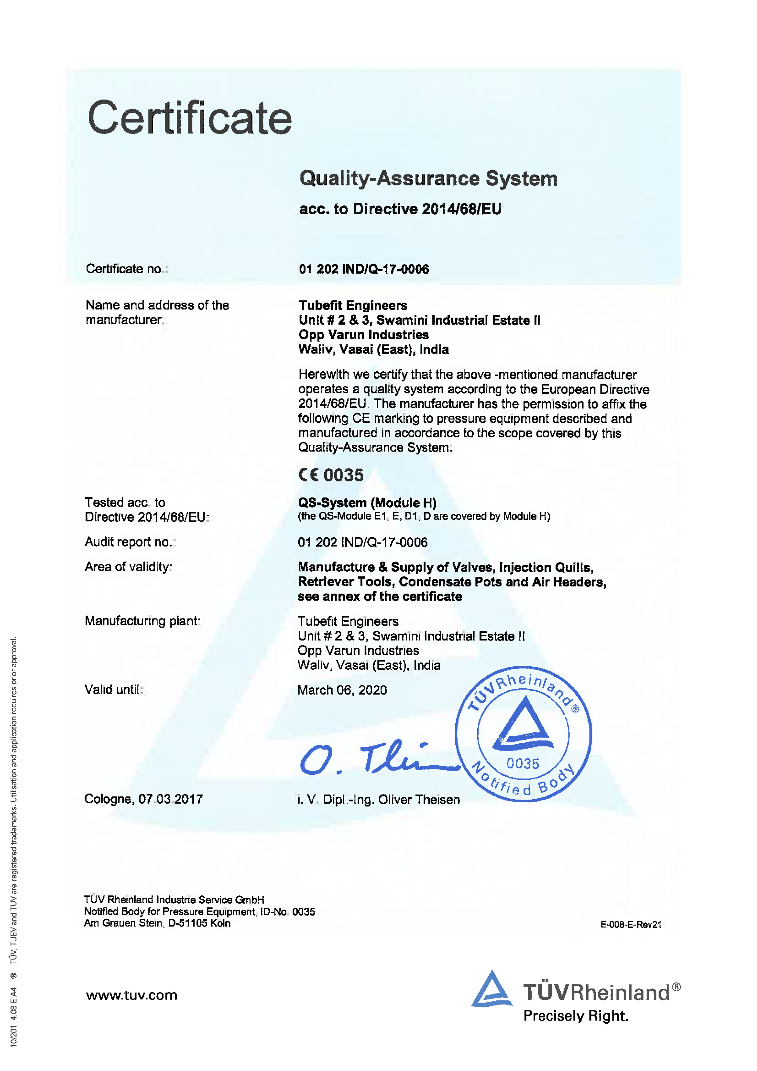 Quality-Assurance System acc. to Directive 2014/68/EU