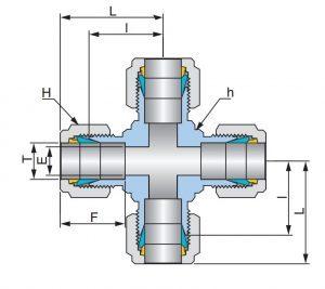 Соединение крестовое промежуточное UUC - Эскиз