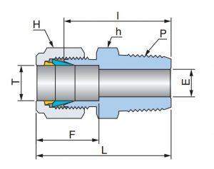 Соединение прямое концевое с наружной резьбой UMC - Эскиз