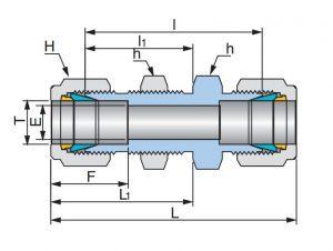 Соединение прямое промежуточное с креплением UBU - эскиз