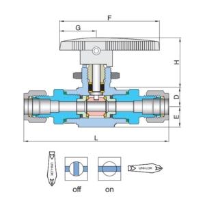 Эскиз шарового крана на высокое давление VB6F