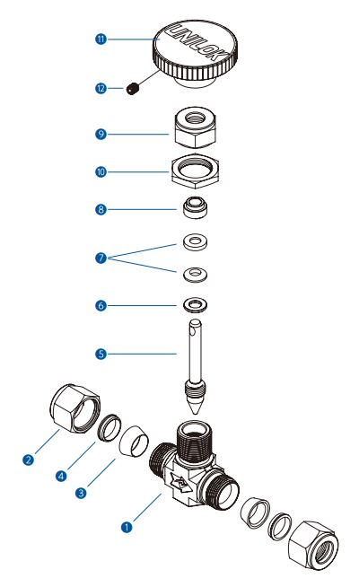 Составные части игольчатого вентиля VN5