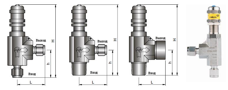 Предохранительные клапаны Unilok - габаритные размеры