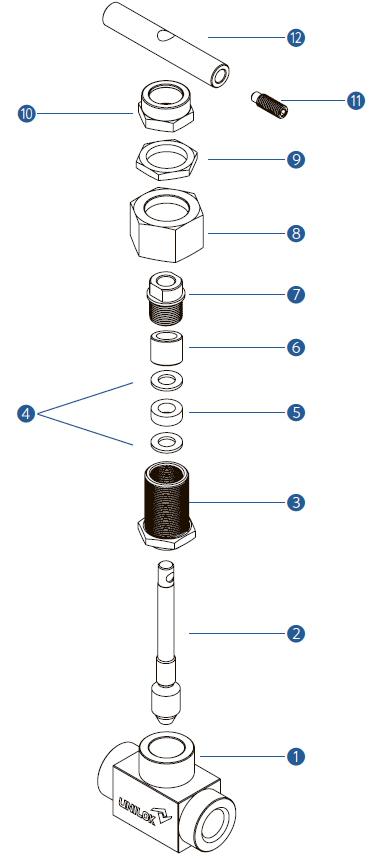 Игольчатый вентиль VU6 с быстросъемным штоком -спецификация
