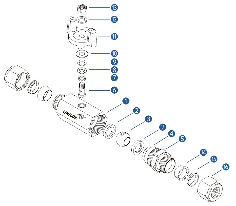 Шестигранный шаровой кран модель VB1 - Спецификация