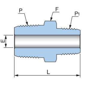 Соединитель понижающий с наружными резьбами PHRN - Эскиз
