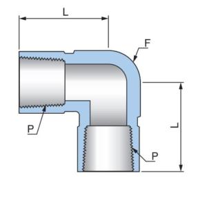 Соединитель угловой с внутренними резьбами PFE - Эскиз