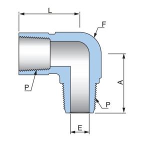 Соединитель угловой с наружной и внутренней резьбами PSE - Эскиз