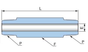 Соединитель удлиненный с наружными резьбами PHLN - Эскиз