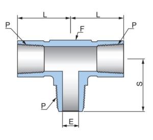 Тройник с внутренними и наружной резьбами по отводу PBT - Эскиз