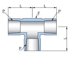 Тройник с внутренними резьбами PFT - Эскиз