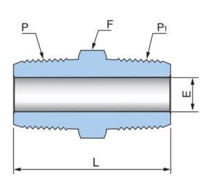 Шестигранный соединитель с наружными резьбами PHN - Эскиз