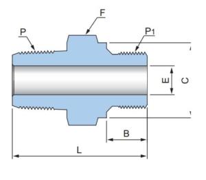 Шестигранный соединитель с наружными резьбами PHN-G- Эскиз