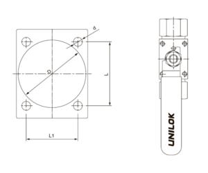 Схема расположения отверстий для крепления на панель крана VB6B